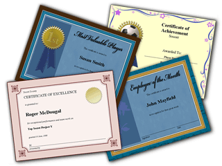 Award Certificates screenshot