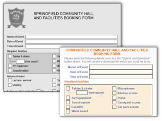 Community hall booking form screenshot