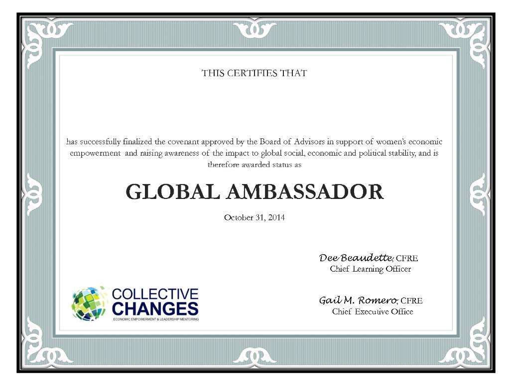 Global Ambassador Certificate | Collective Changes